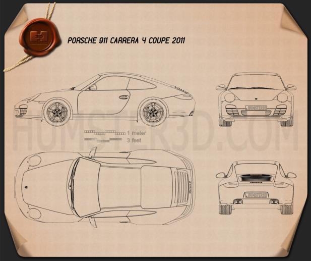 Porsche 911 Carrera 4 Coupe 2011 Blueprint