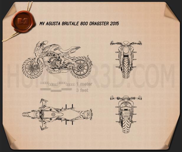 MV Agusta Brutale 800 DRAGSTER 2015 Blueprint