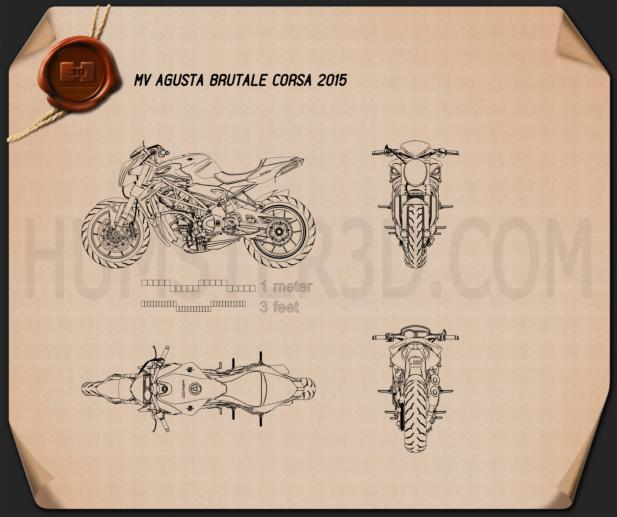 MV Agusta Brutale Corsa 2015 Disegno Tecnico