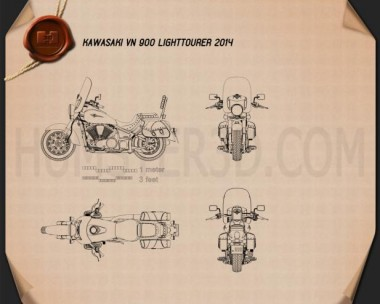 Kawasaki Vulcan 900 Light Tourer 2014 Blueprint