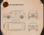 Opel Meriva (B) 2013 Blueprint 3d model