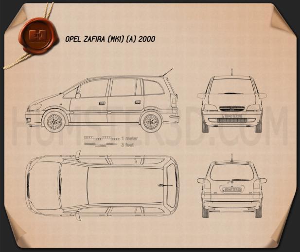 Opel Zafira (A) 2000 Blueprint