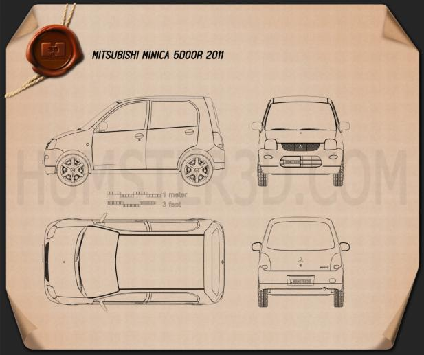 Mitsubishi Minica 5-door 2011 Blueprint