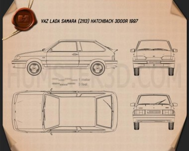 VAZ Lada Samara (2113) hatchback 3-door 1997 Blueprint