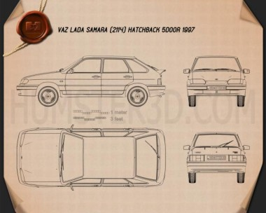 VAZ Lada Samara (2114) hatchback 5-door 1997 Blueprint
