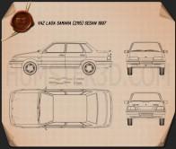 VAZ Lada Samara (2115) sedan 1997 Blueprint