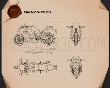 Kawasaki ZX-10R 2014 Blueprint