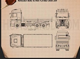 Mercedes-Benz Actros Flatbed 2011 Blueprint