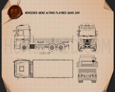 Mercedes-Benz Actros Flatbed 2011 Blueprint