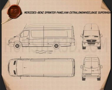 Mercedes-Benz Sprinter Panel Van Extralong 2011 Blueprint