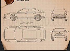 Citroen C6 2005 Blueprint