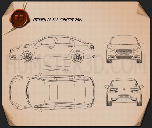 Citroen DS 5LS 2014 Blueprint