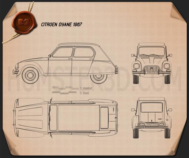Citroen Dyane 1967 Blueprint