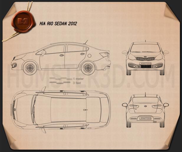 Kia Rio (US) sedan 2012 Blueprint