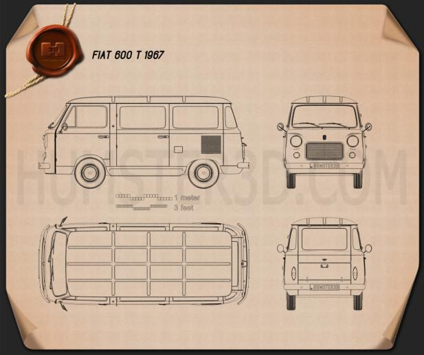 Fiat 600 T 1967 Blueprint
