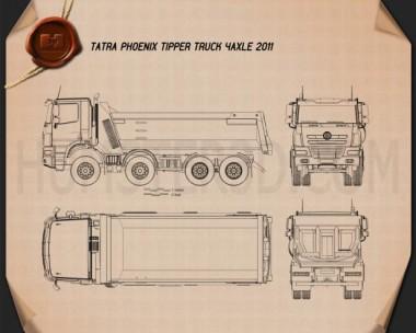 Tatra Phoenix Tipper Truck 4-axle 2011 Blueprint