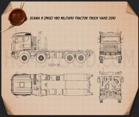 Scania R 480 Military Tractor Truck 2010 Blueprint
