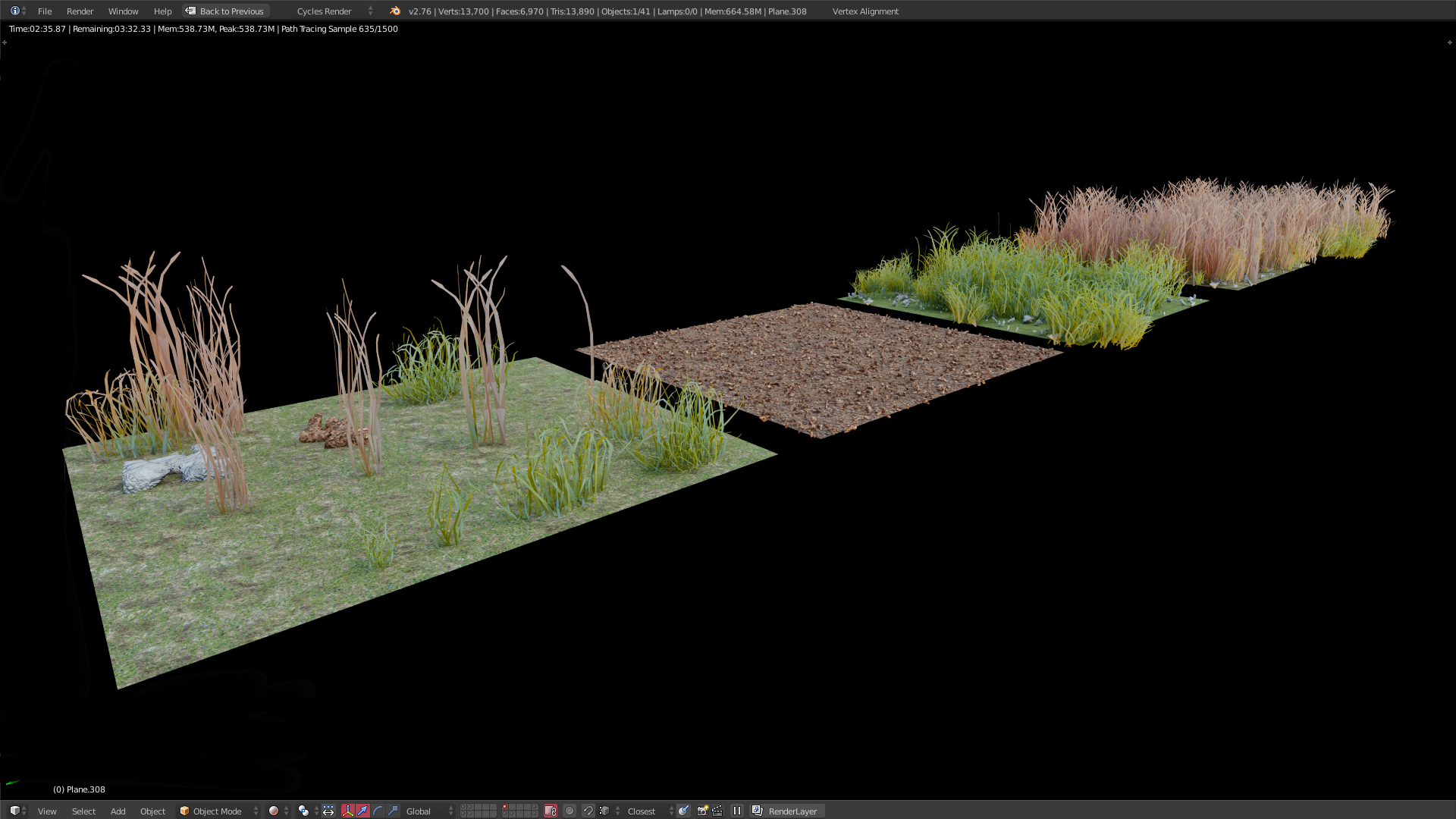 I modeled six variations of stones and some more grass
