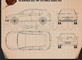 Volkswagen Golf Mk7 5-door 2013 Blueprint