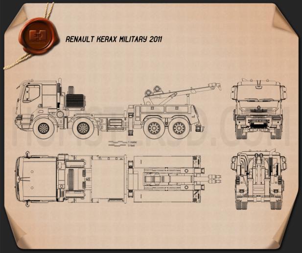 Renault Kerax Military Crane 2011 Blueprint