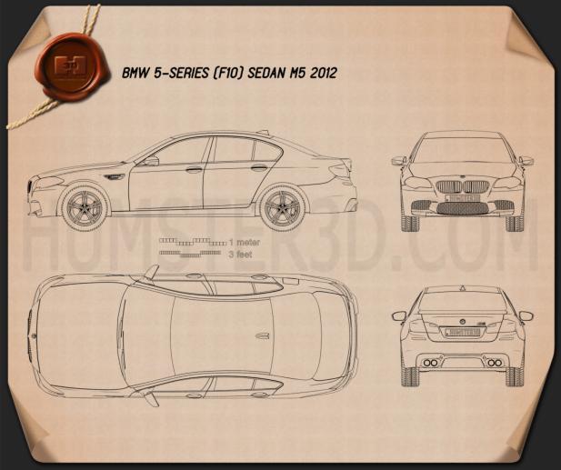 BMW M5 sedan (F10) 2012 Blueprint