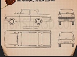 Opel Rekord (P2) 2-door sedan 1960 Blueprint