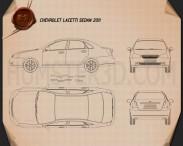 Chevrolet Lacetti Sedan 2011 Blueprint 3d model