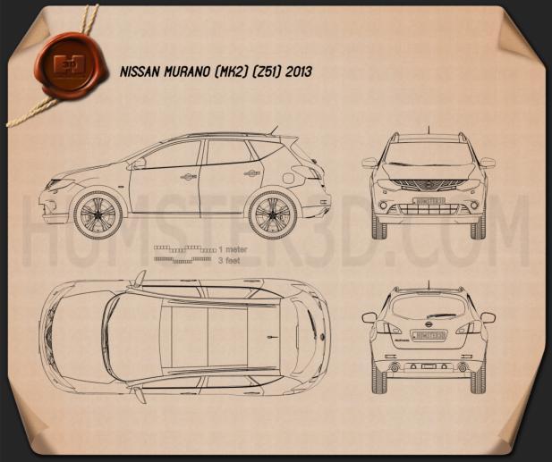 Nissan Murano (Z51) 2013 Disegno Tecnico