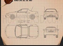 Honda Civic del Sol 1993 Blueprint