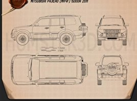 Mitsubishi Pajero (Montero) Wagon 2011 Blueprint
