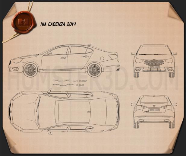 Kia Cadenza (K7) 2014 Disegno Tecnico