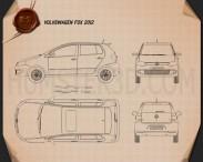 Volkswagen Fox 5-door 2012 Blueprint 3d model