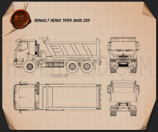 Renault Kerax Tiper 3-axis 2011 Blueprint
