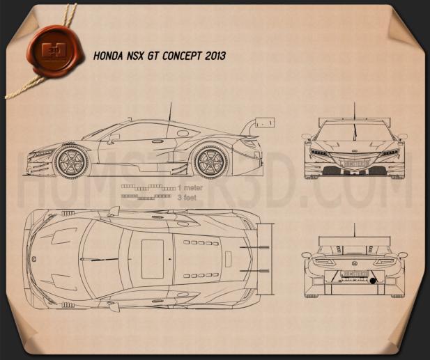Honda NSX GT 2013 Blueprint