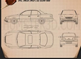 Opel Omega (B) sedan 1999 Blueprint