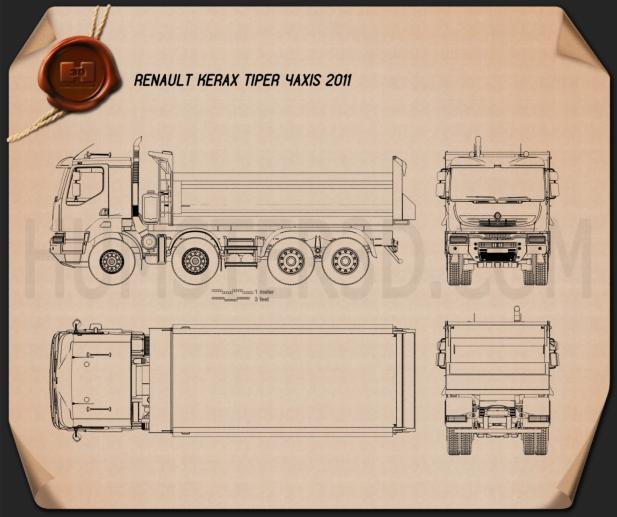 Renault Kerax Tiper 4axis 2011 蓝图