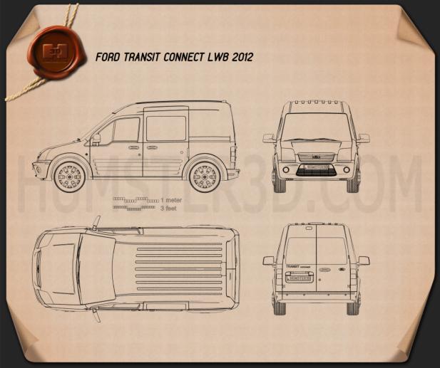 Ford Transit Connect LWB 2012 Blueprint