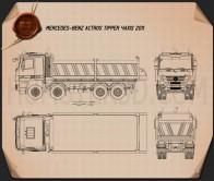 Mercedes-Benz Actros Tipper 4-axle 2011 Blueprint