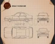 Renault 19 Sedan 1988 Blueprint 3d model