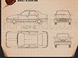 Renault 19 Sedan 1988 Blueprint