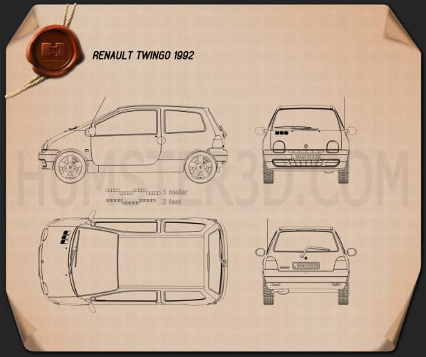 Renault Twingo 1992 Blueprint