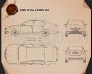 Skoda Octavia 2013 Blueprint 3d model