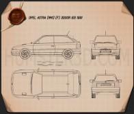 Opel Astra (F) 3-door GSi 1991 Blueprint