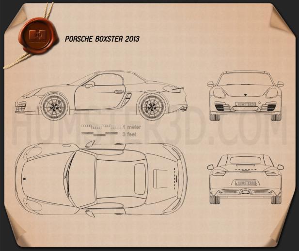 Porsche Boxster 981 2013 Blueprint