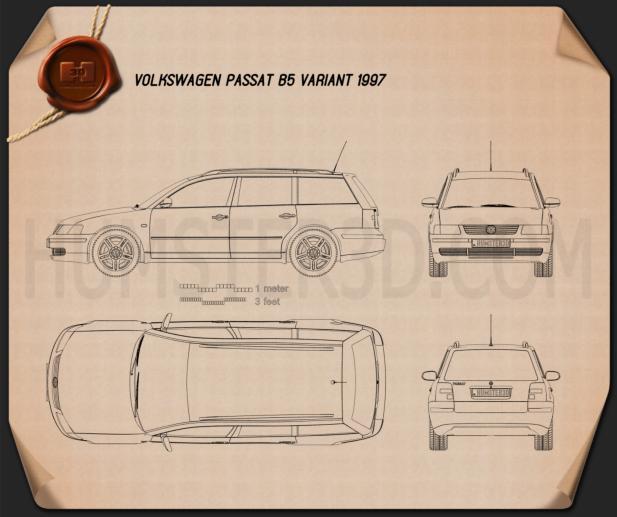 Volkswagen Passat (B5) variant 1997 Blueprint