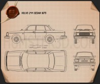 Volvo 244 sedan 1975 Blueprint