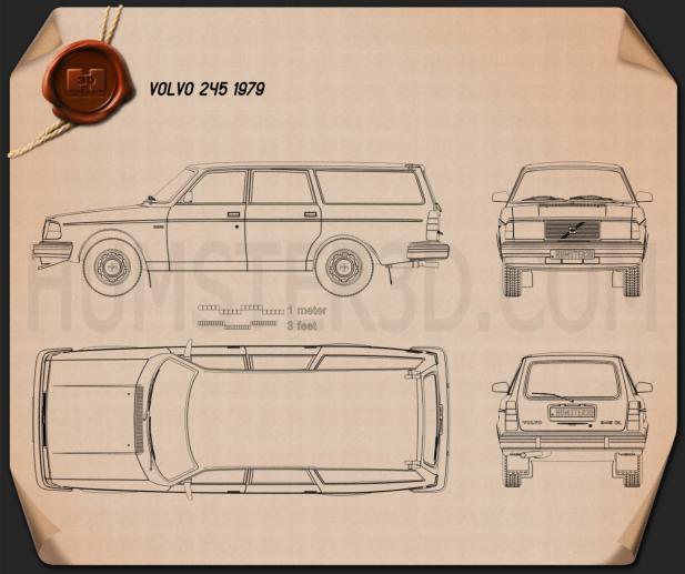 Volvo 245 wagon 1979 Blueprint