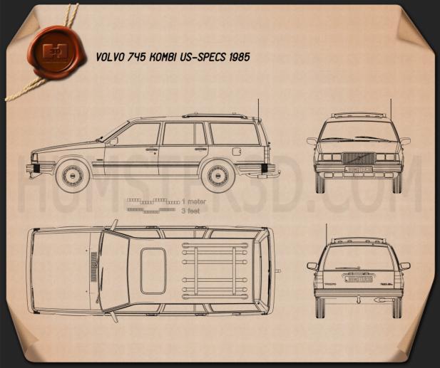 Volvo 745 kombi 1985 Blueprint