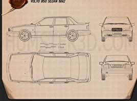 Volvo 850 sedan 1992 Blueprint