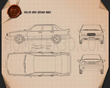 Volvo 850 sedan 1992 Blueprint